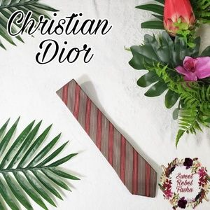 Christian Dior Silk Tie Tan red stripes